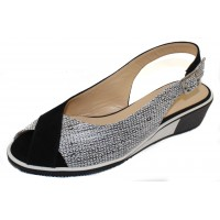 Brunate Women's U3F2-39634 In Gallic Fucile Black And White Printed Leather/Black Suede