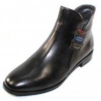 Canal Grande Women's Paolo In Black Leather/Multi Colored Stripes
