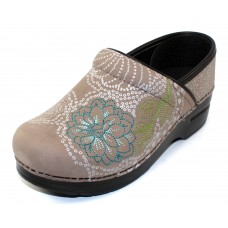 Dansko Women's Embroidered Pro In Taupe Milled Nubuck