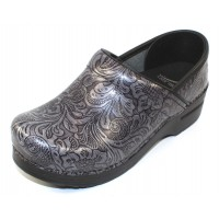 Dansko Women's Professional In Grey Tooled Patent Leather