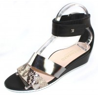 Di Chenzo Women's Claire In Roccia Pitone Embossed Snake Imprinted Leather/Mirror Metallic Leather/Black Calf Leather