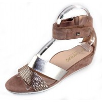 Di Chenzo Women's Claire In Taupe Dots Metallic Embossed Suede/Light Gold Metallic Leather/Beige Suede