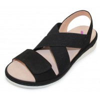 Helle Comfort Women's Cecile In Black Suede/Stretch Elastic