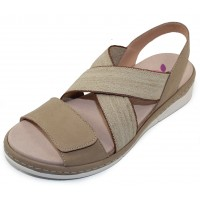 Helle Comfort Women's Cecile In Taupe Suede/Stretch Elastic