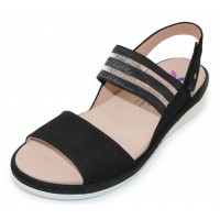 Helle Comfort Women's Chloe In Black Suede/Stretch Mesh