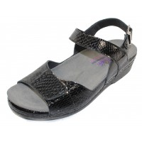Helle Comfort Women's Tam In Black Croco Embossed Patent Leather