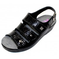 Helle Comfort Women's Thandie In Black Croco Embossed Patent Leather