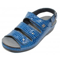 Helle Comfort Women's Thandie In Blue Croco Embossed Patent Leather