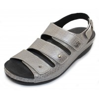 Helle Comfort Women's Thandie In Silver Croco Embossed Metallic Leather