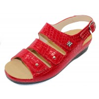 Helle Comfort Women's Thandie In Red Croco Embossed Patent Leather