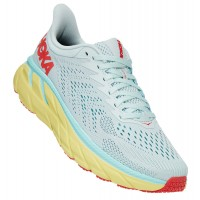 Hoka One One Women's Clifton 7 In Morning Mist/Hot Coral