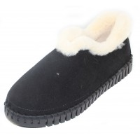 Ilse Jacobsen Women's Tulip 3050 In Black Microfiber/Milk Creme Faux Fur