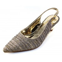 J Renee Women's Battista In Taupe/Gold Glitter Fabric