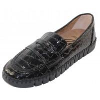 J Renee Women's Brooklyne In Black Croco Embossed Patent Leather
