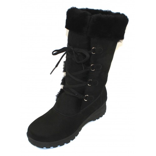 La Canadienne Women's Annabella In Black Nubuck/Shearling