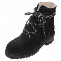 La Canadienne Women's Charm In Black Waterproof Suede/Shearling