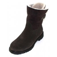 La Canadienne Women's Honey In Fumo Grey Waterproof Suede/White Shearling