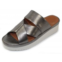 Lamour Des Pieds Women's Allyssa In Anthracite Metallic Leather