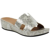 Lamour Des Pieds Women's Catiana In Silver/Gold Snake Printed Leather
