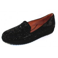 Lamour Des Pieds Women's Correze In Black Kid Suede/Beading