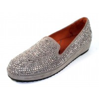 Lamour Des Pieds Women's Correze In Grey Suede/Clear Beading