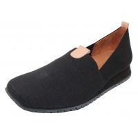 Lamour Des Pieds Women's Tumai In Black Stretch Fabric/Cuoio Leather