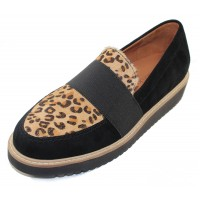 Lamour Des Pieds Women's Xanthus In Black Suede/Animal Print Hair Calf