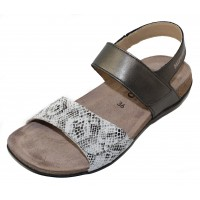 Mephisto Women's Agave In Dark Grey Metallic Leather/Grey Embossed Snake Printed Leather 10152/3361