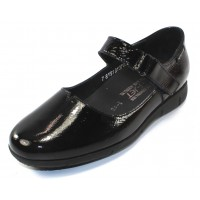 Mephisto Women's Jenyfer In Black Crinkle Patent Leather 1014