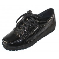 Mephisto Women's Lady In Black Crinkle Patent Leather 1000