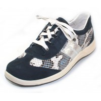 Mephisto Women's Laser In Navy Bucksoft/Denim Boa Printed Leather/Silver Ice Crackle Imprinted Metallic Leather 6945/3395/7068