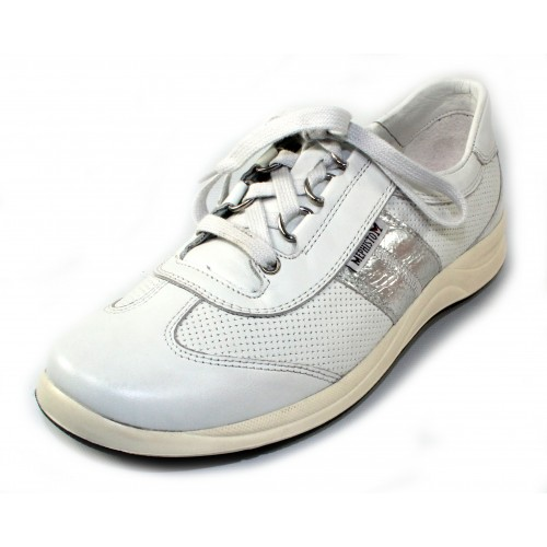 Mephisto Women's Laser Perf In White Smooth Leather/Silver Crackle Embossed Metallic Leather 1230/7068