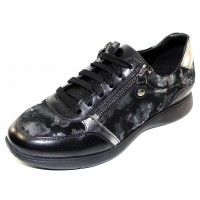 Mephisto Women's Monia In Black Silk Leather/Printed Suede/Pewter Leather 7800/43000