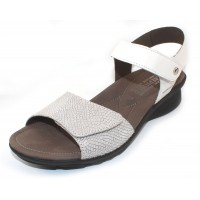 Mephisto Women's Pattie In White Silk Leather/Silver Python Embossed Suede 7830/7568