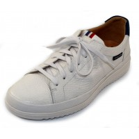 Mephisto Men's Thomas In White Grain Leather/Denim Blue Trim 1330/1395