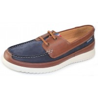 Mephisto Men's Trevis In Navy Nomad Suede/Hazelnut Randy Leather 25545/6178