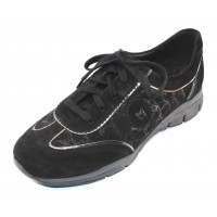 Mephisto Women's Yael In Black Suede/Stella Embossed Suede 12200/4900