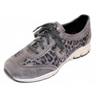 Mephisto Women's Yael In Grey Suede/Leopard Embossed Suede 12203/52