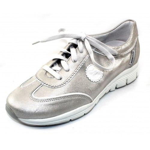 Mephisto Women's Yael In Light Grey Liz Embossed Metallic Suede/White Leather Trim 2305/1230