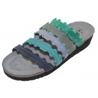 Naot Women's Adina In Oily Emerald Nubuck/Sea Green Leather/Feathery Blue/Teal/Navy Velvet Nubuck