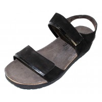 Naot Women's Aisha Wide In Black Velvet Nubuck/Madras