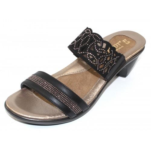 Naot Women's Contempo In Jet Black Leather/Black/Bronze Microfiber