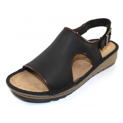 Naot Women's Ficus In Oily Coal Nubuck/Toffee Brown Leather