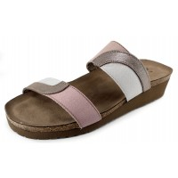 Naot Women's Frankie In Silver Threads Leather/Ice Gray/Dusty Pink Elasti
