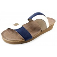 Naot Women's Frankie In White Diamond Leather/Blue/Khaki