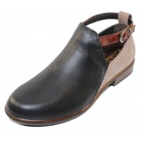 Naot Women's Kamsin In Black Raven Leather/Stone Nubuck/Luggage Brown Leather