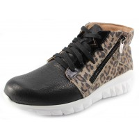 Naot Women's Polaris In Soft Black Leather/Cheetah Suede/Black Luster Leather