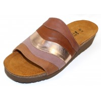 Naot Women's Portia In Mocha Rose/Soft Maple/Rose Gold Leather Combo