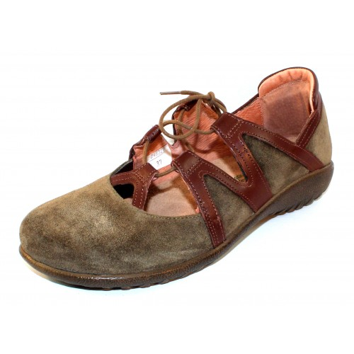 Naot Women's Timu In Oily Olive Suede/Toffee Brown Leather