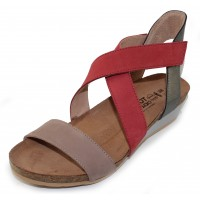 Naot Women's Vixen In Stone/Brick Red Nubuck/Sterling